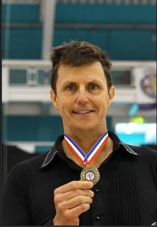 Bob Bawden who won Gold in his Age Category and was 4th overall in the Pre-Bronze competition at the British adult figure skating championships in Sheffield, Jun 2014