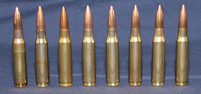 l-r: Lapua, Hornady, ABT, HSM, Blackhills, Winchester, Remington, Federal