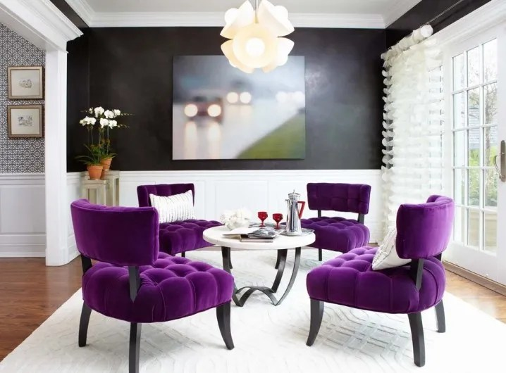 last-detail-interior-design-purple-velvet-dining-room-chairs-tufted-chair-rail-black-walls-painted-718x530