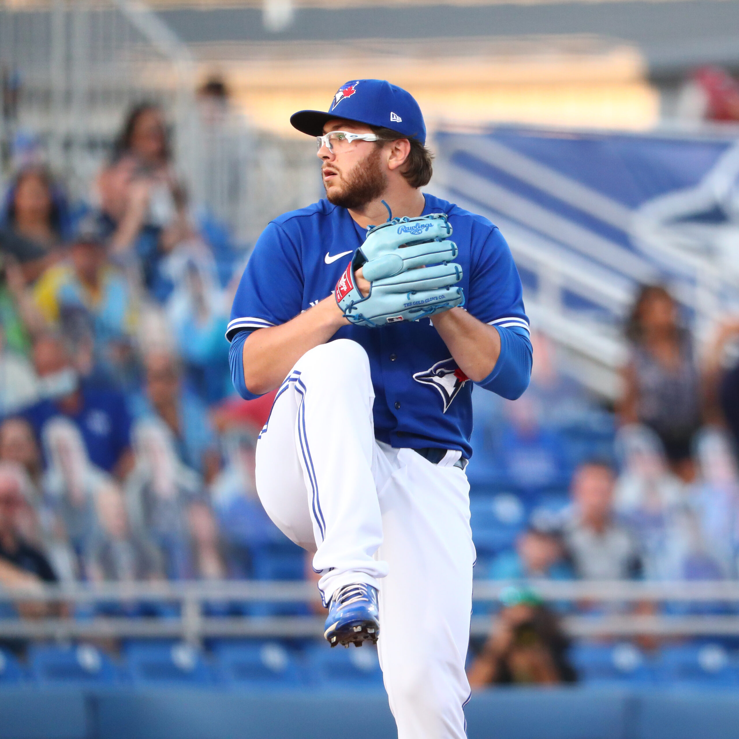 Blue Jays player Anthony Kay getting ready to throw a pitch