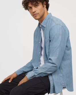 High quality cotton tailored denim shirt for men