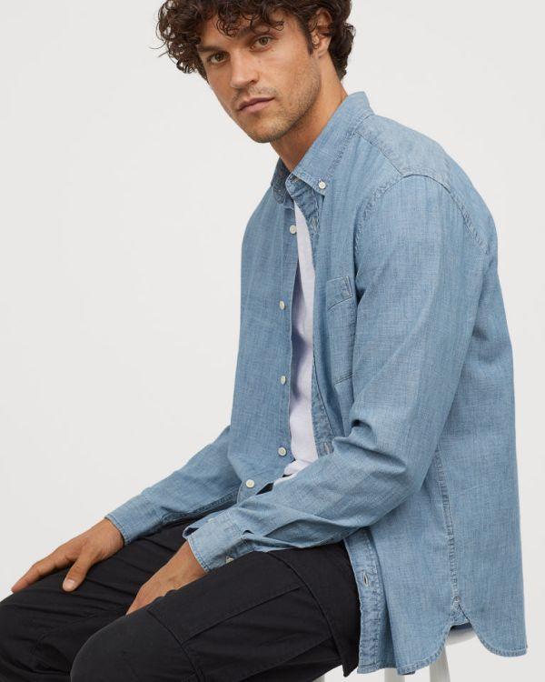 High quality cotton tailored denim shirt for men