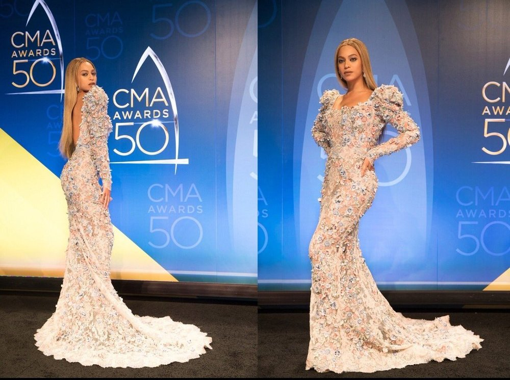 Beyonce In A 3-D Floral Gown By Zuhair Murad