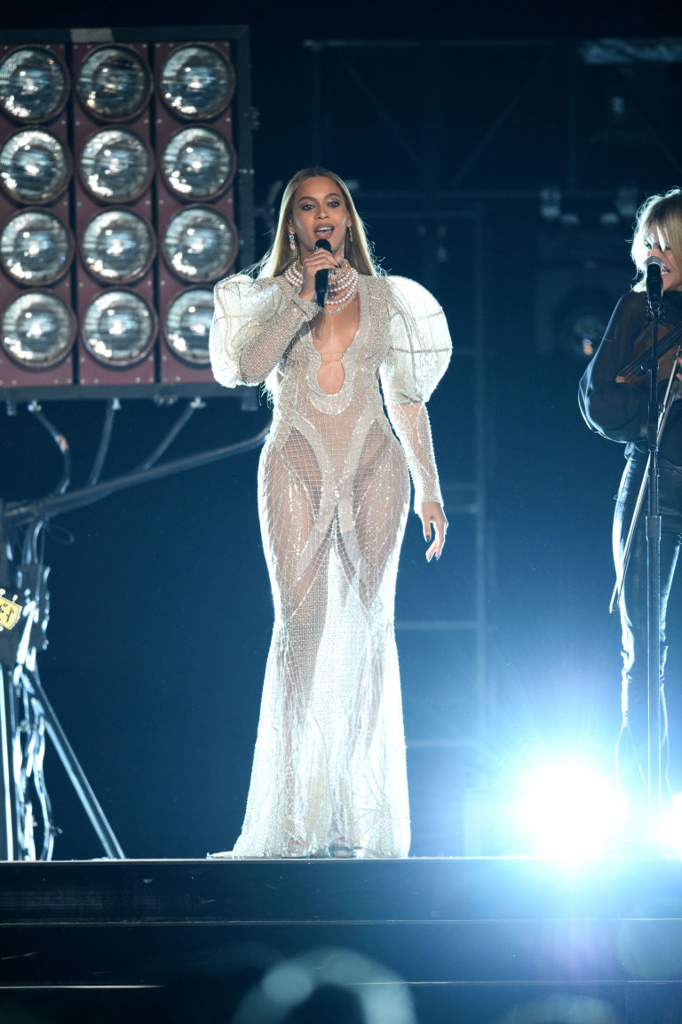 Beyonce In A Sheer Victorian Gown At The Country Music Awards