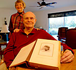 Richard Guttormsen with Alberta and his grandmother's album.