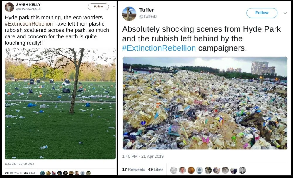 Were Piles Of Rubbish Left In Hyde Park By Global Warming Protesters