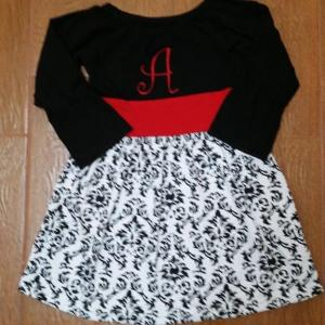 Black & Red Damask Dress Set