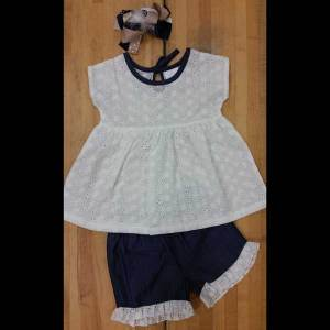 Denim and Lace Short Set