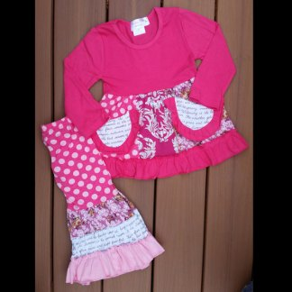 Hot Pink Patch Work Pant Set