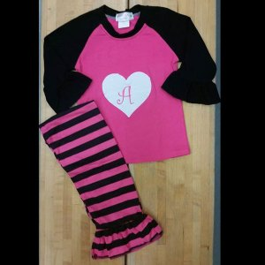 Valentines or Anytime Hot Pink & Black Striped Heart Pant Set