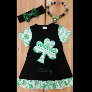 Black & Green St. Patti's Clover Dress Set