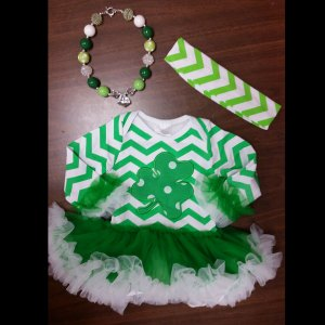 Green Chevron & Clover St. Patti's Day Tutu Set