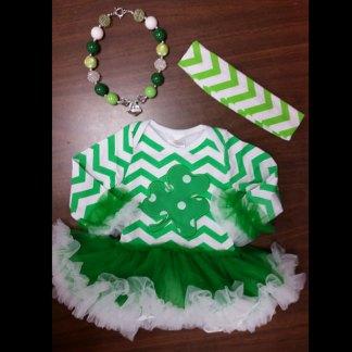 Green Chevron & Clover St. Patti's Day Tutu Set
