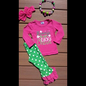 Hot Pink & Green 'Mommy's Little Lucky Charm' Set