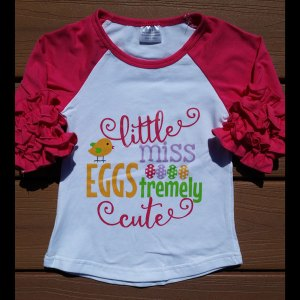 Hot Pink 'Little Miss Eggstremely Cute' Raglan