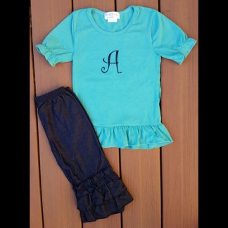 Short Sleeve Teal & Stretch Denim Capri Set