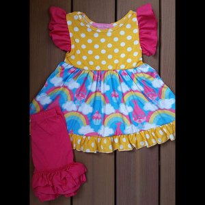 Bright Yellow & Hot Pink Trolls Dress & Short Set