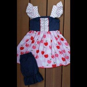Denim & Cherries Dress & Shorts Set