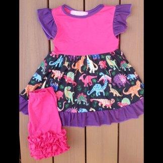 Hot Pink & Purple Dinosaur Dress & Short Set