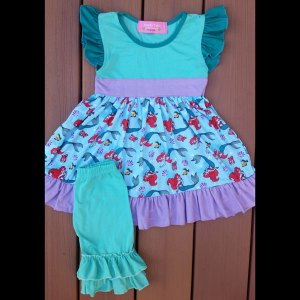 Teal & Purple Mermaid Dress & Capri Set