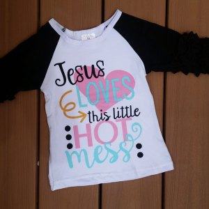 Jesus Loves This Hot Mess Black Raglan
