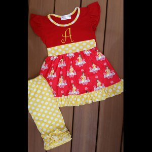 Yellow & Red Beauty & The Book Capri Set