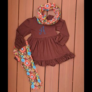 Brown Floral Leggings & Scarf Set