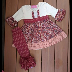 Ivory & Maroon Floral Dress & Striped Pant Set