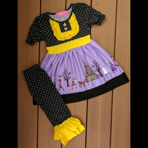 Purple, Yellow & Black Halloween or Anytime Dress & Legging Set