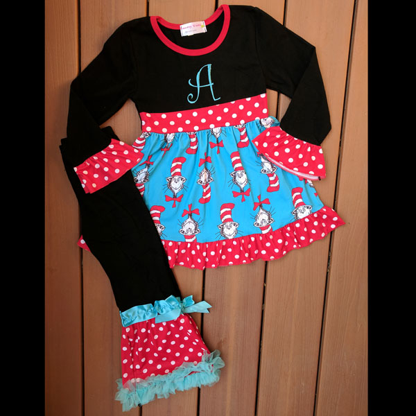 Black Long Sleeve Cat & The Hat Dress & Pants Set