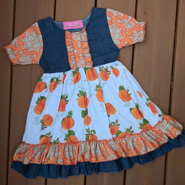 Denim and Pumpkin Dress