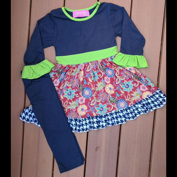 Red & Navy Floral Dress and Leggings Set