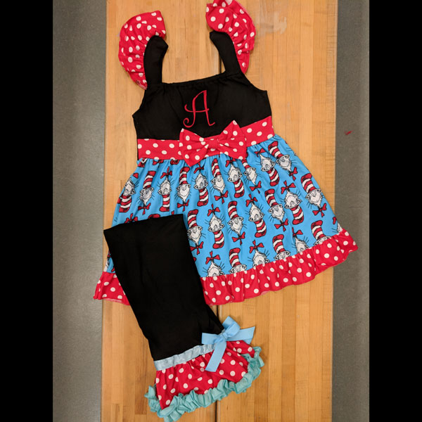 Black Short Sleeve Cat and the Hat Capri Set