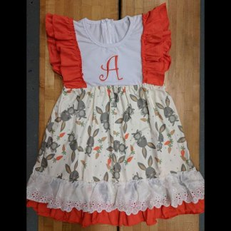Orange & White Easter Bunny Dress