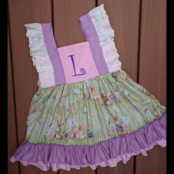 Purple & Pink Easter Bunny Dress