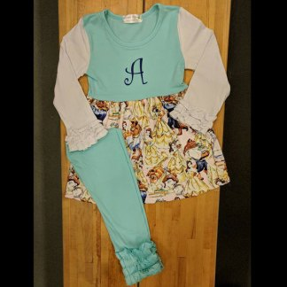 Teal & White Beauty and The Beast Leggings Set