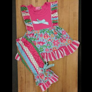 Hot Pink Owl Capri Set