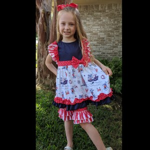 Red & Navy Mouse Nautical Short Set