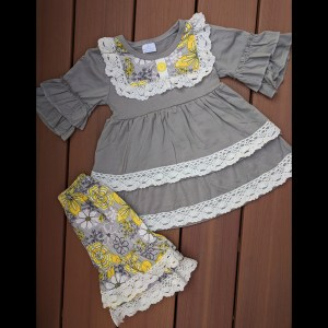 Yellow & Grey Floral Short Set