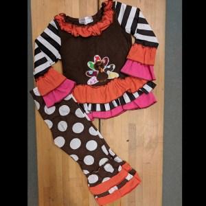 Brown Striped & Polka Dot Turkey Set