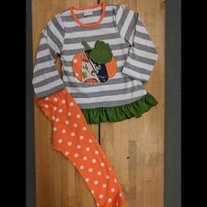 Grey & White Striped Pumpkin Leggings Set
