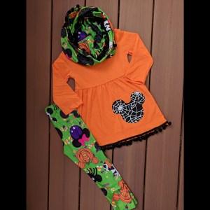 Orange & Black Mickey Halloween Tunic Legging & Scarf Set