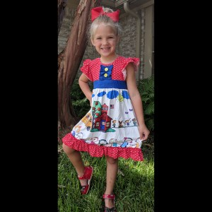 Red & Blue School House Dress