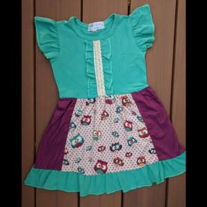 Teal Maroon & Tan Owl Dress