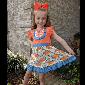 Orange Polka Dot Pumpkin On the Vine Dress