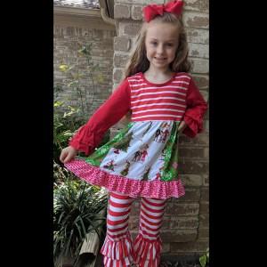 Red Striped Grinch Dress & Pant Set