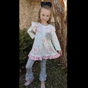 Long Sleeve Pale Pink & Gray Ballerina Pant Set