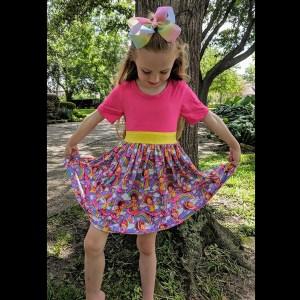 Hot Pink & Yellow Fancy Nancy Twirl