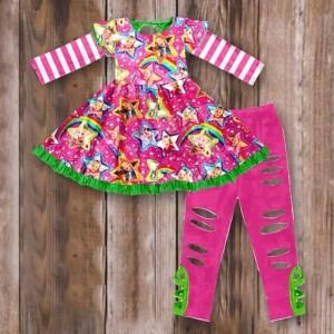 Long Sleeve Hot Pink & Green JoJo Twirl Tunic With Distressed Leggings