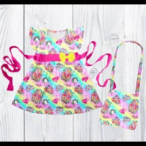 Short Sleeve Hot Pink & Rainbow JoJo Dress